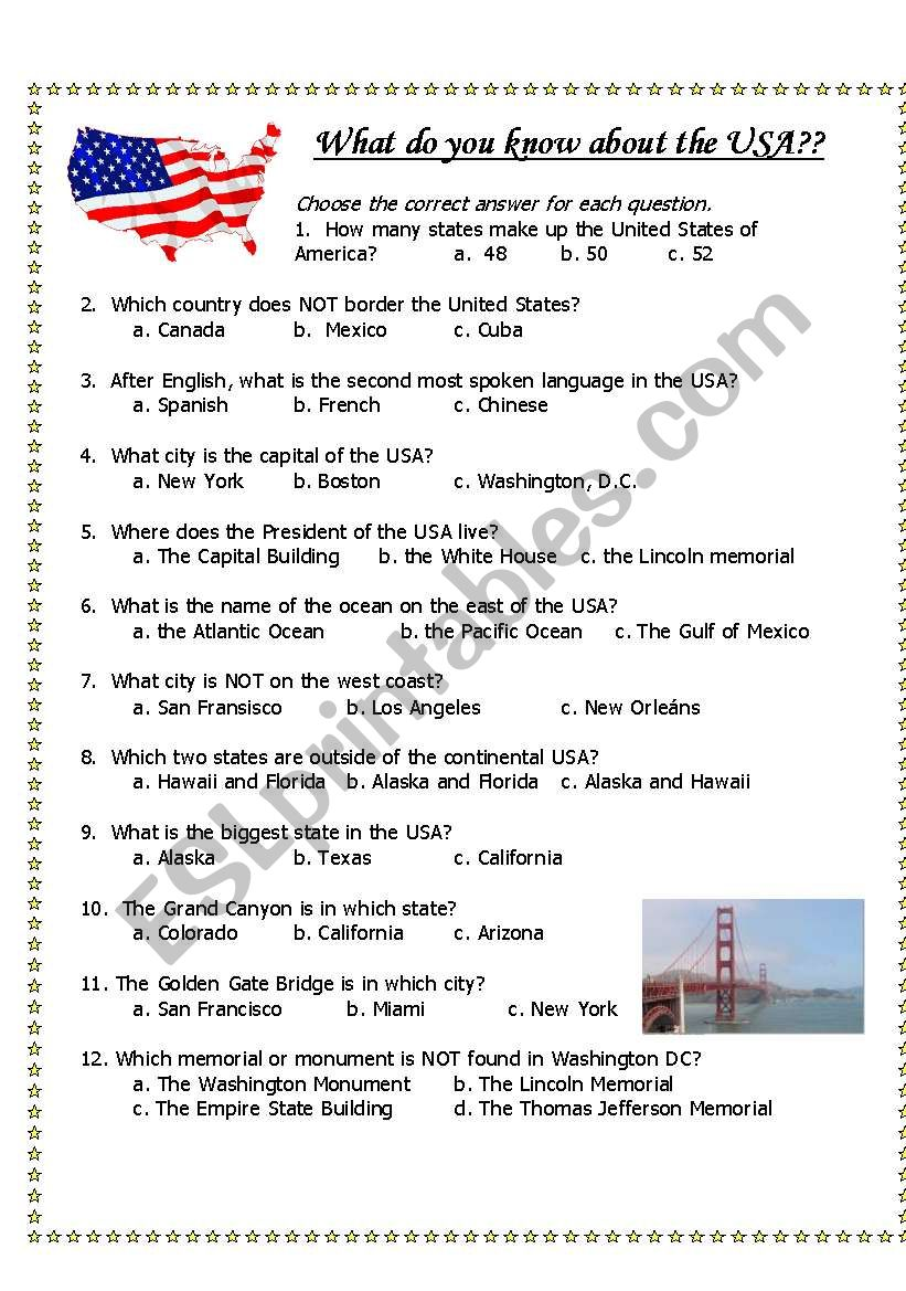 USA general knowledge quiz and pictures - ESL worksheet by ...