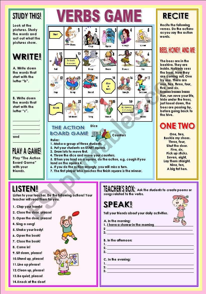 Verbs game worksheet
