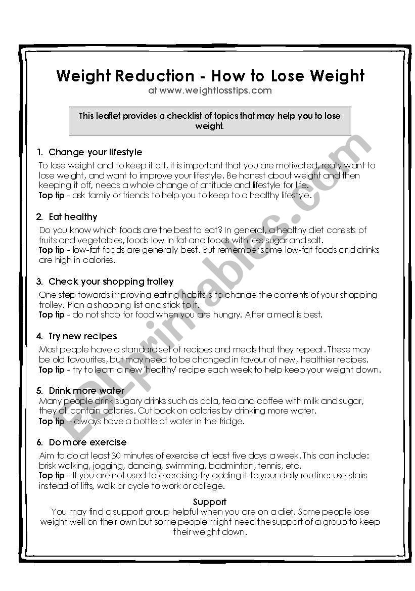 - How To Lose Weight Reading And Comprehension - ESL Worksheet By