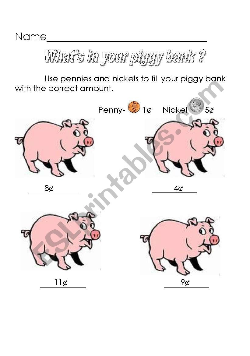 what´s in your piggy bank? worksheet