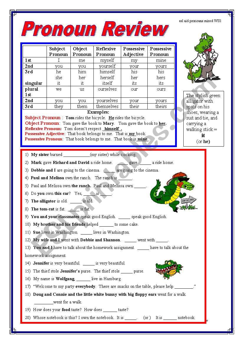 Pronoun Review worksheet