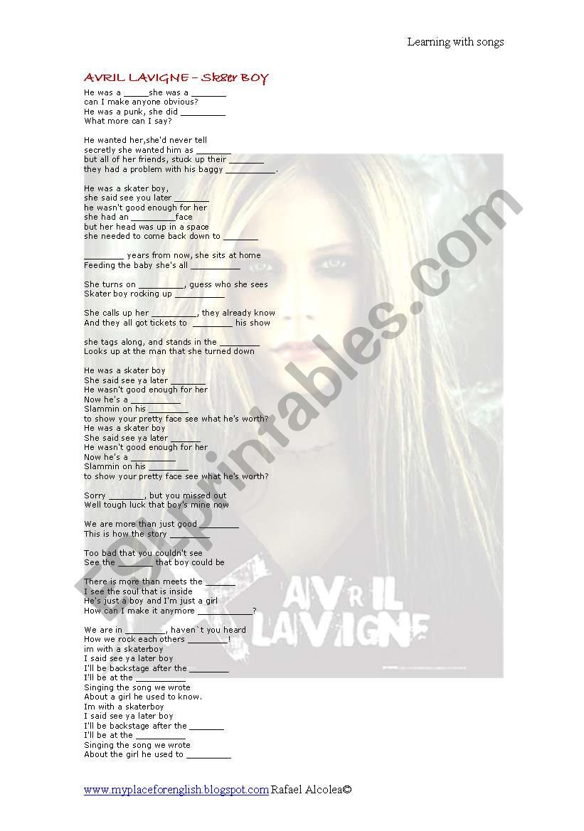 Avril lavigne -Skater boy Lyrics and activities