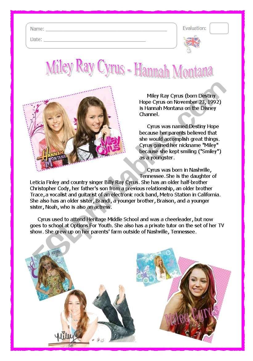 Hannah Montana worksheet