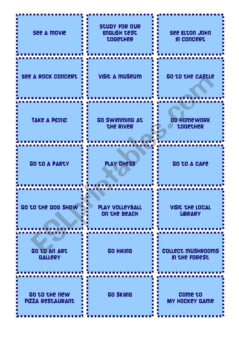 Invitation and Excuse Cards worksheet