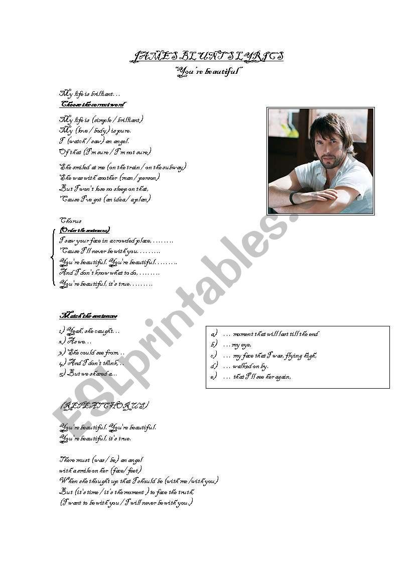 SONG JAMES BLUNT -(Past Simple Practice)