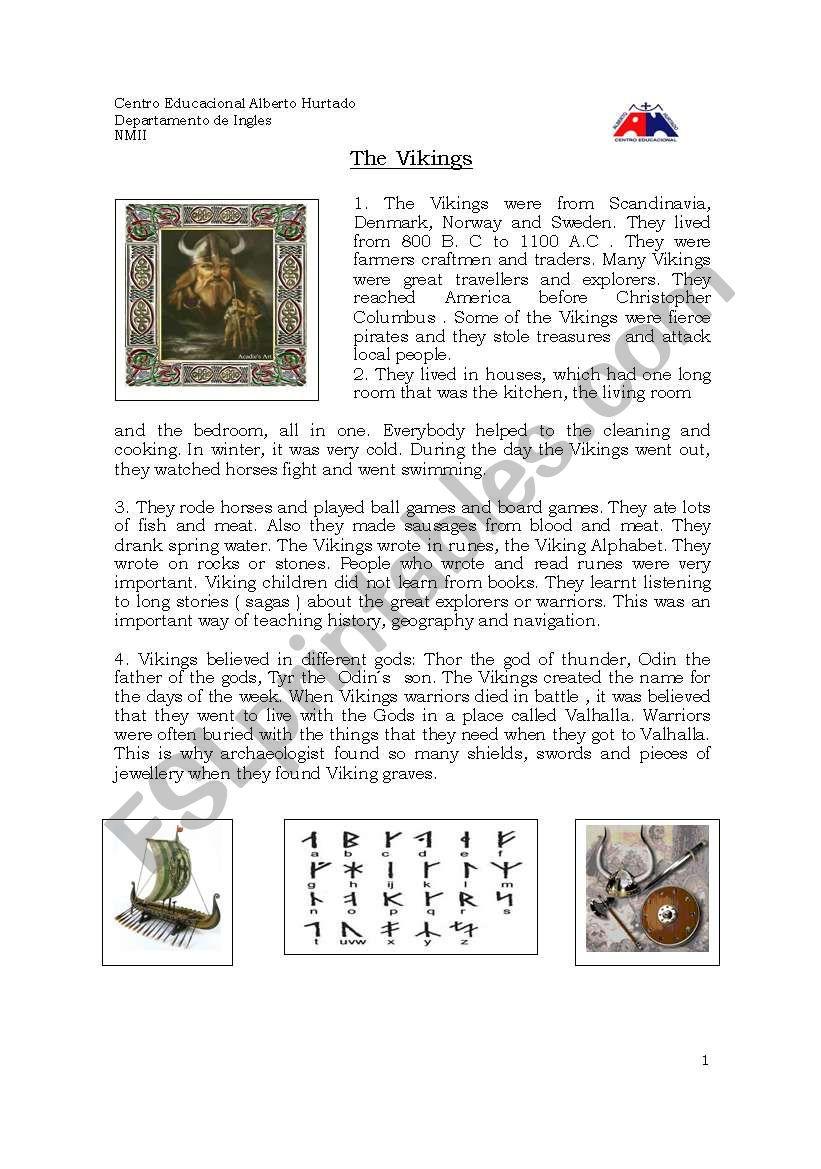 Vikings LIfe  worksheet