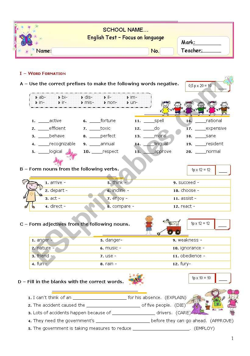 Grammar Formative TEST for Advanced Students