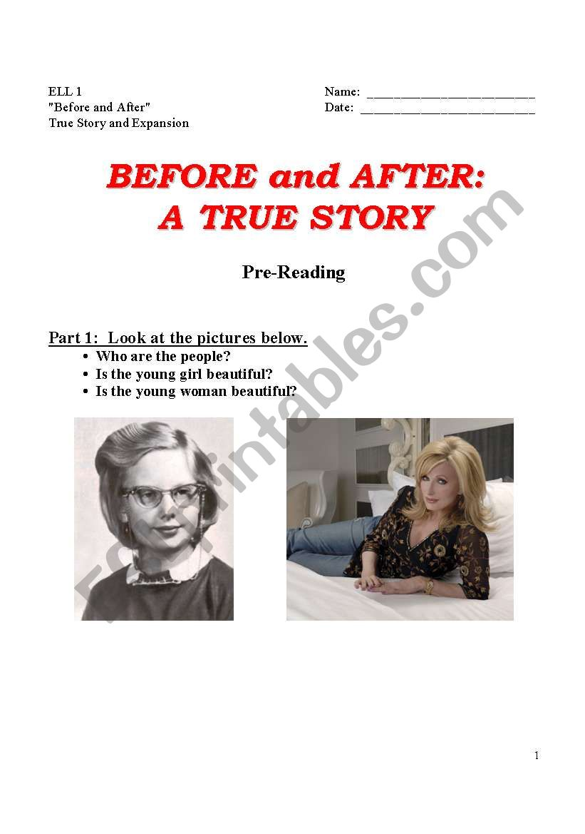 Before & After:  A True Story w/Exercises  (6 pages)