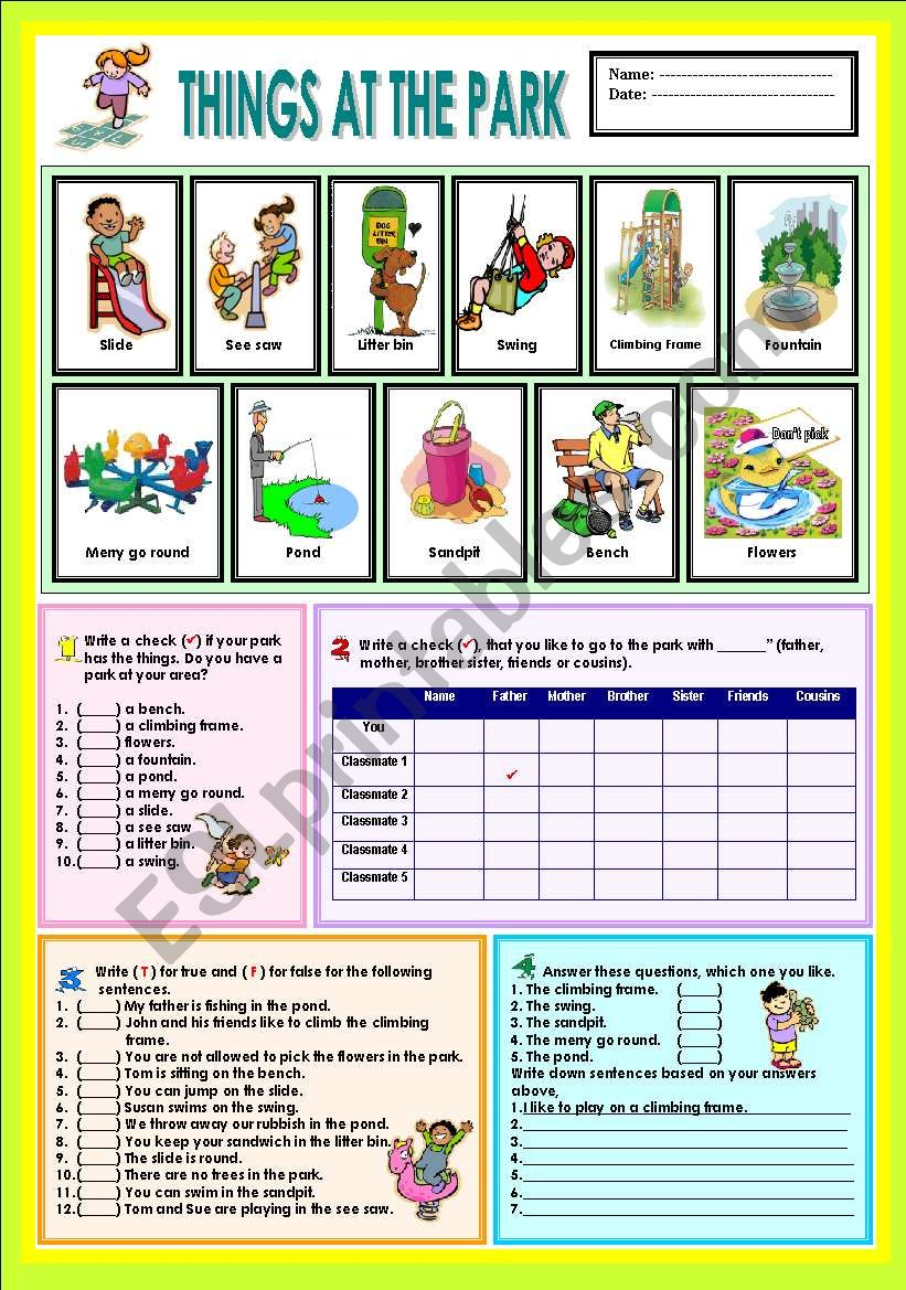 Things in the park worksheet