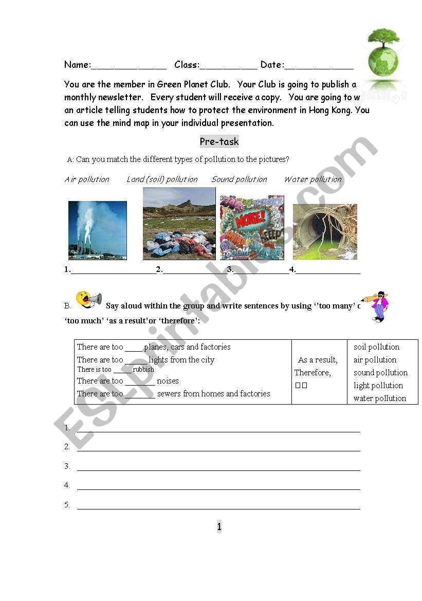 Pollutions and solutions worksheet
