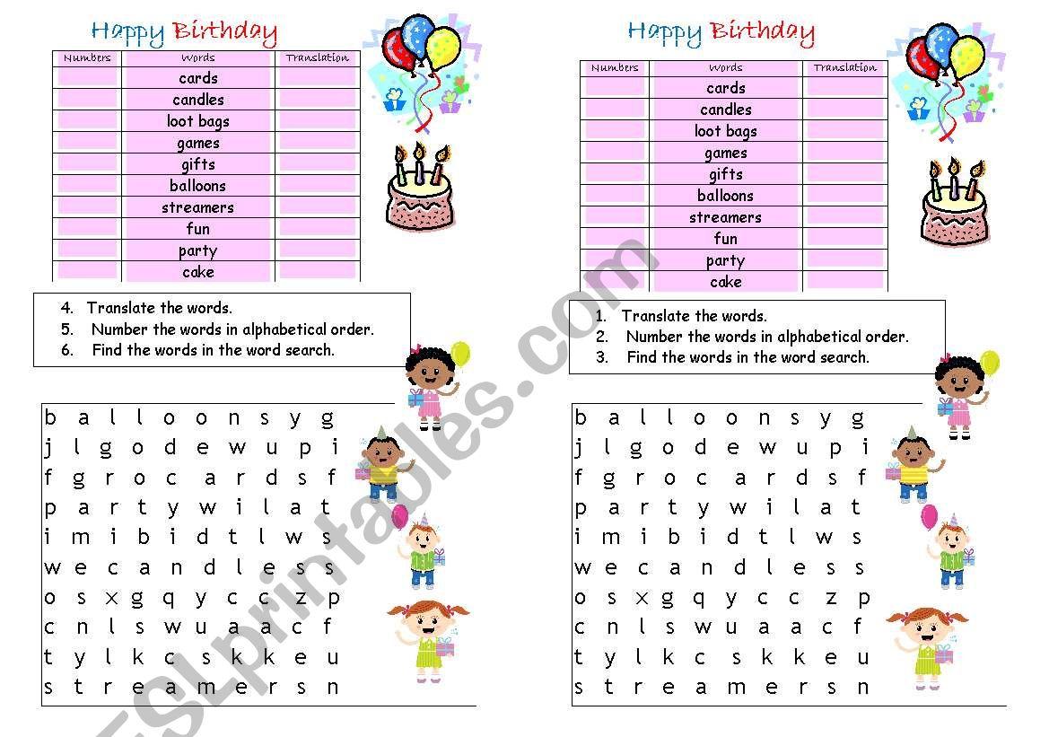 happy birthday vocabulary esl worksheet by eng789. Black Bedroom Furniture Sets. Home Design Ideas