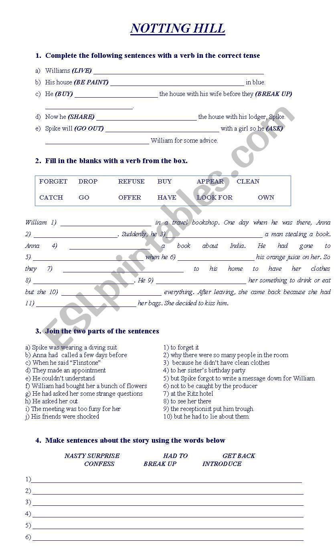 NOTTING HILL worksheet