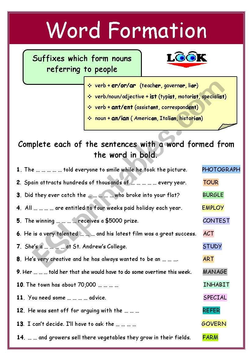 WORD FORMATION (+keys) worksheet