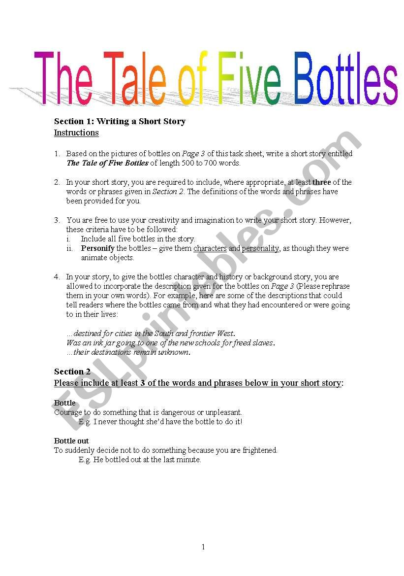 Short Story Creative Writing: The Tale of Five Bottles - ESL