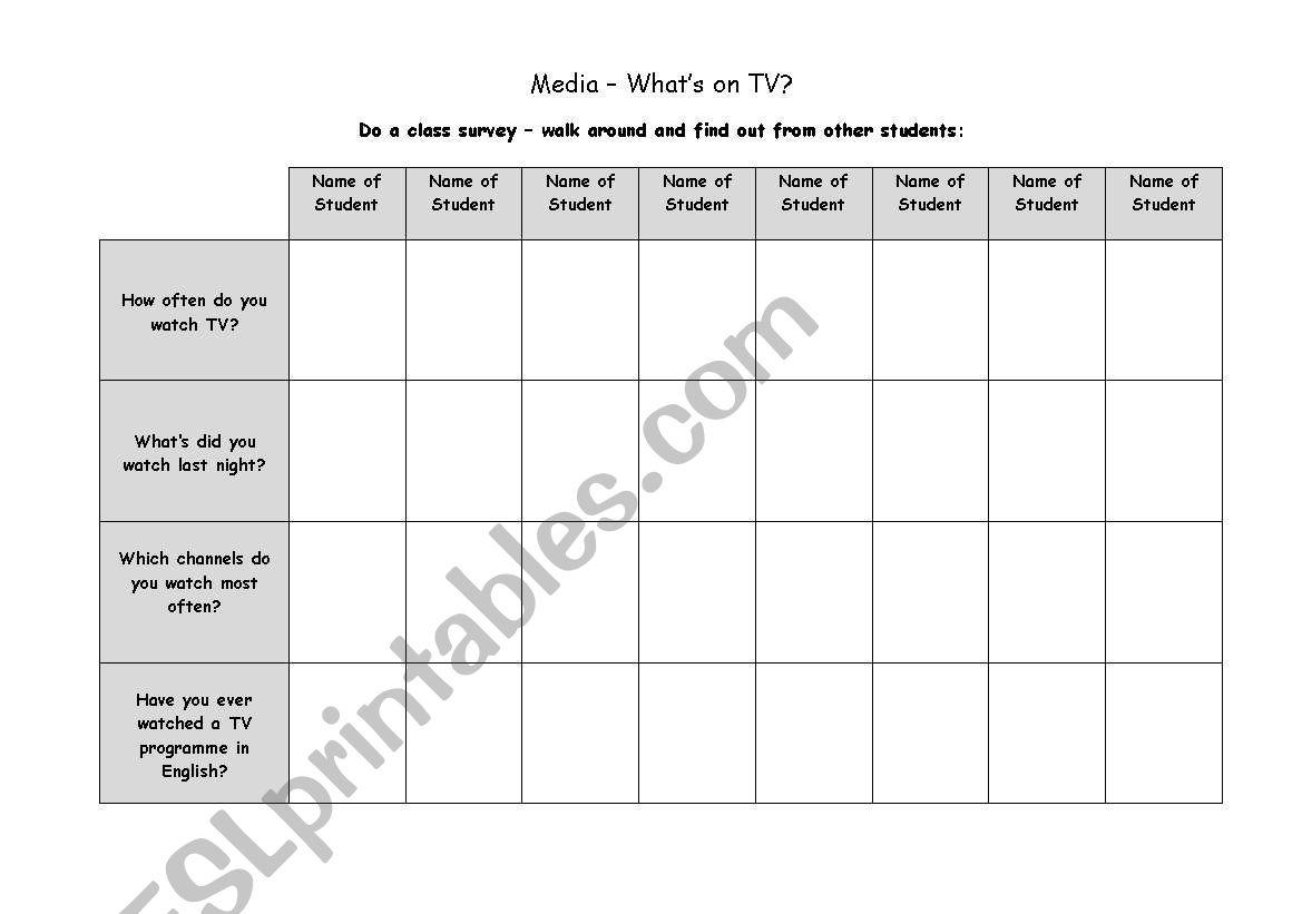 TV worksheet