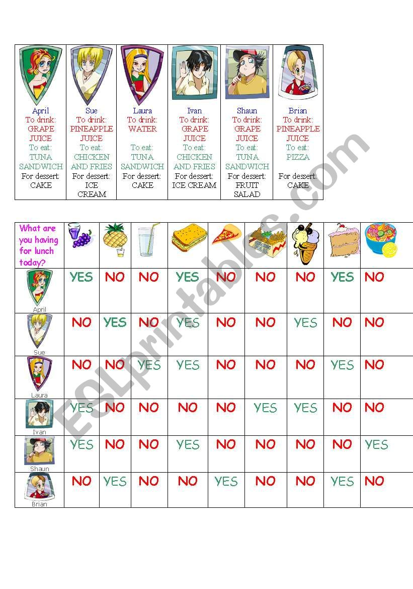 Guessing Game: Lunch time worksheet