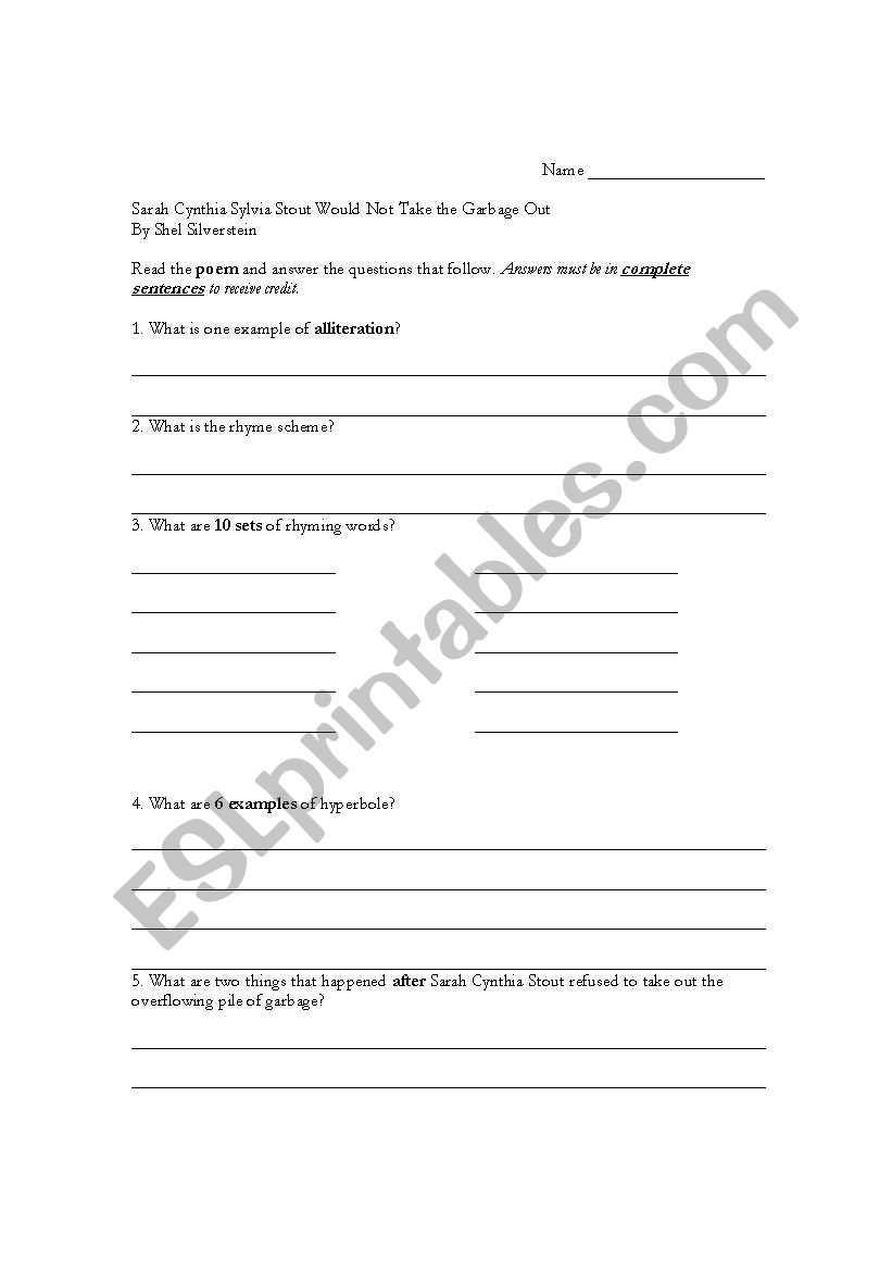 photo regarding Sarah Cynthia Sylvia Stout Printable named English worksheets: Sarah Cynthia Sylvia Stout