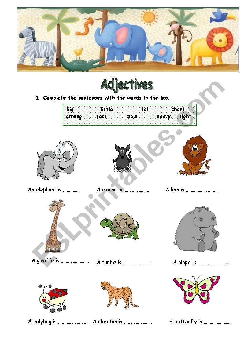Adjetives worksheet