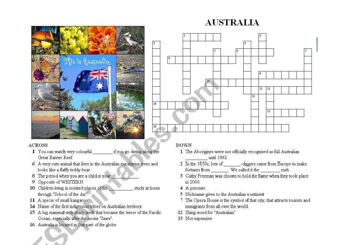 Crosswords on AUSTRALIA (Version 3/3) with ANSWER KEYS