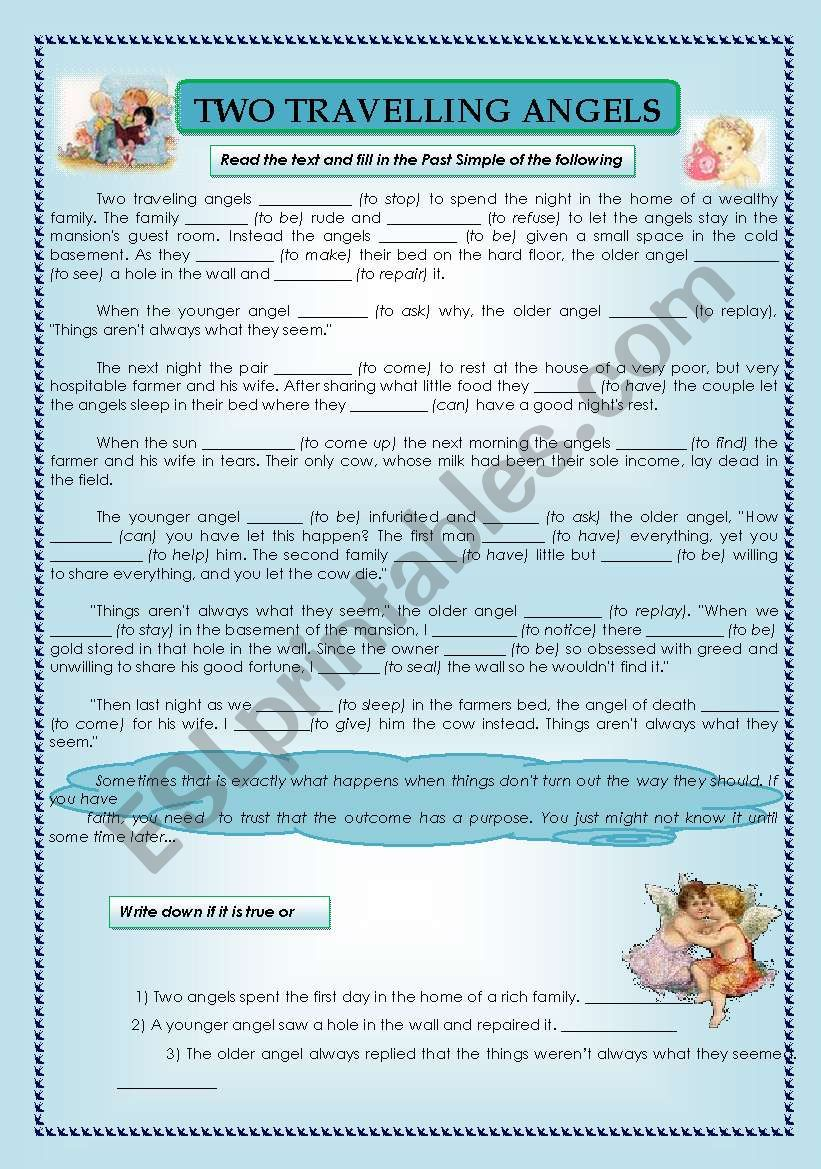 reading comprehension- two travelling angels - Past Simple