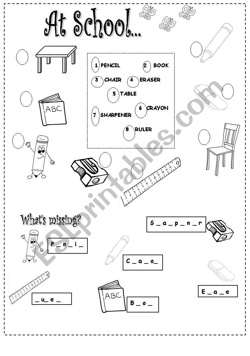 school things - ESL worksheet by al2018
