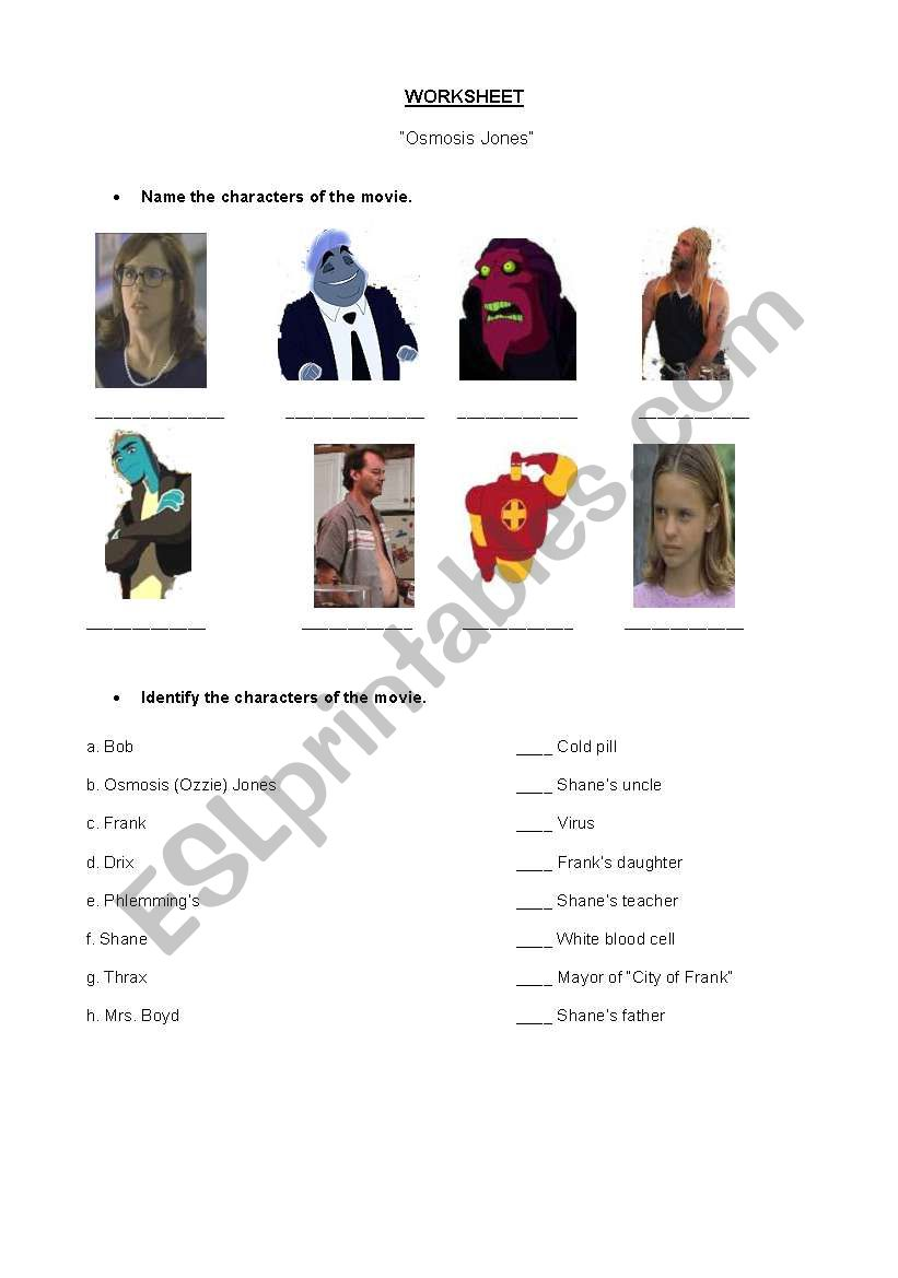 Worksheets Osmosis Jones Worksheet english worksheets health vocabulary related to in general based on the movie