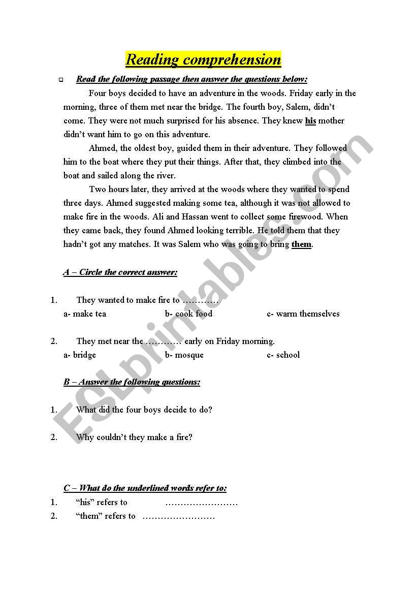 - English Worksheets: Simple Reading Passages