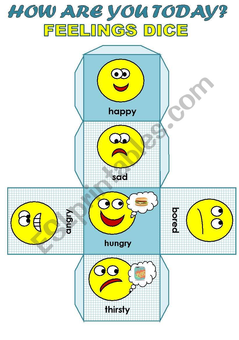 HOW ARE YOU TODAY? - FEELINGS DICE FOR YOUNG LEARNERS (EDITABLE!!!)