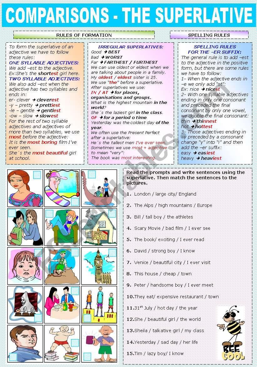 COMPARISONS -THE SUPERLATIVE worksheet