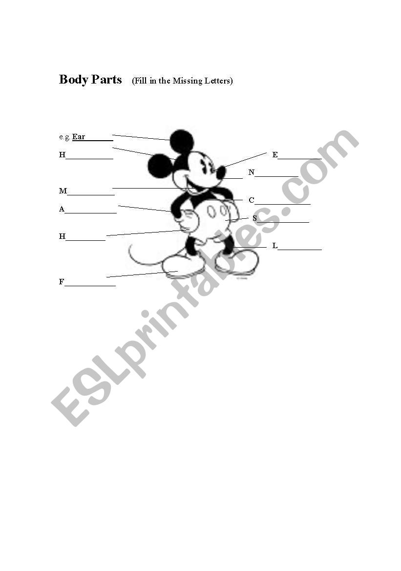 Mickey Body Parts worksheet
