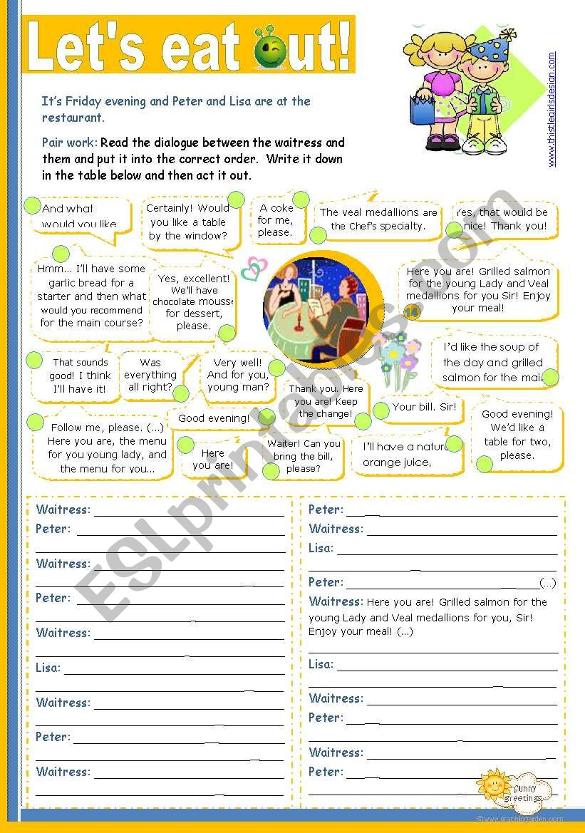 Let´s eat out!  - Reading + Writing + Speaking activity for Intermediate or Upper Elementary students