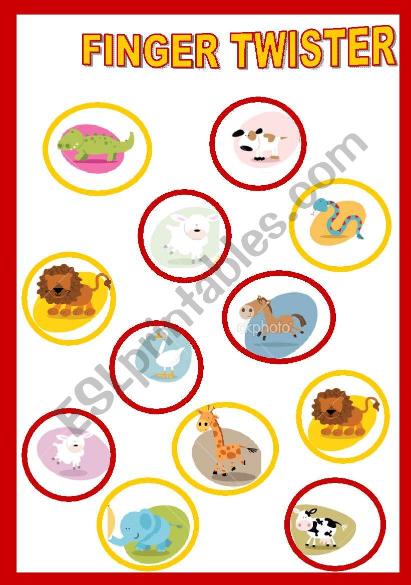 picture about Finger Twister Printable called FINGER TWISTER - Pets - ESL worksheet by means of Tinette