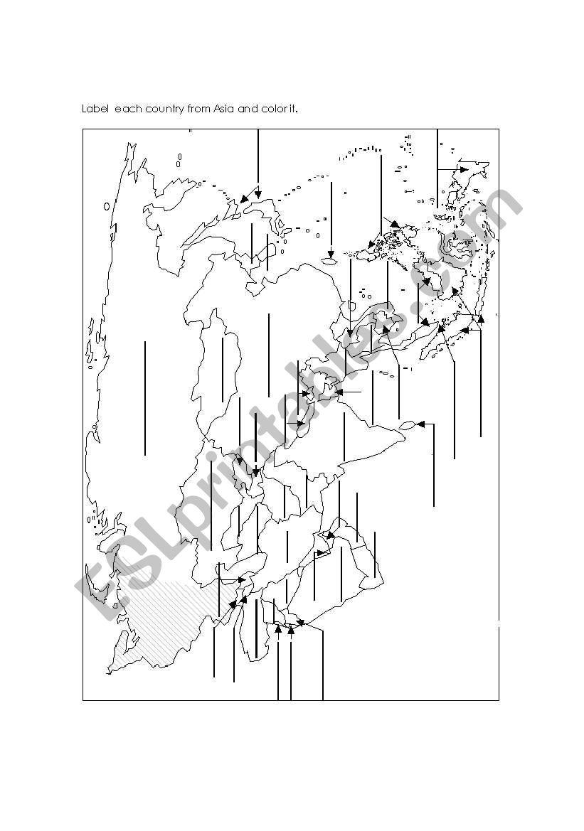 English Worksheets Asia Map