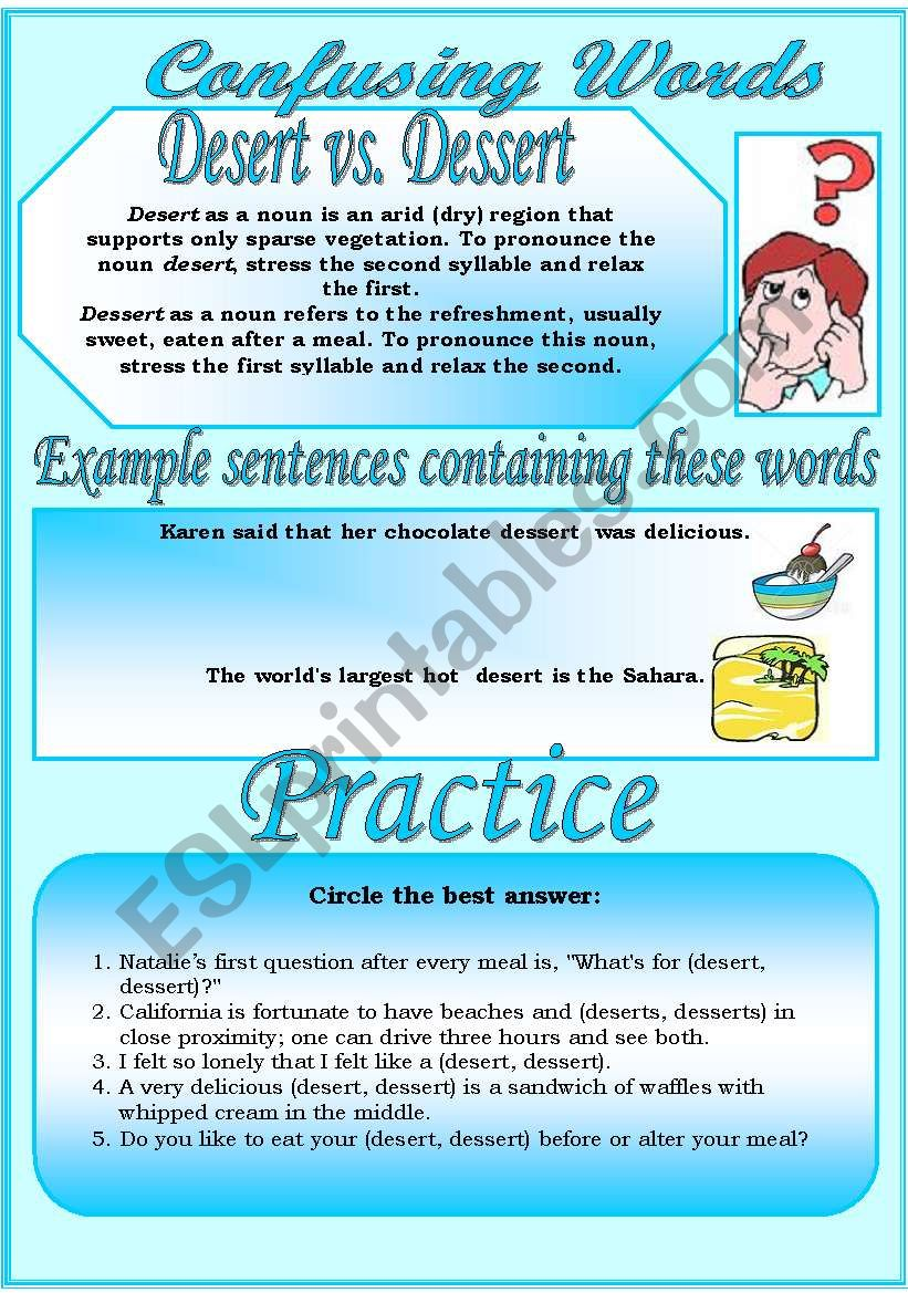 Confusing Words (3)...desert vs. dessert...There are many grammatical errors that we, as  teachers see every day. If you really want to improve your students English, this is the perfect set for you ;)