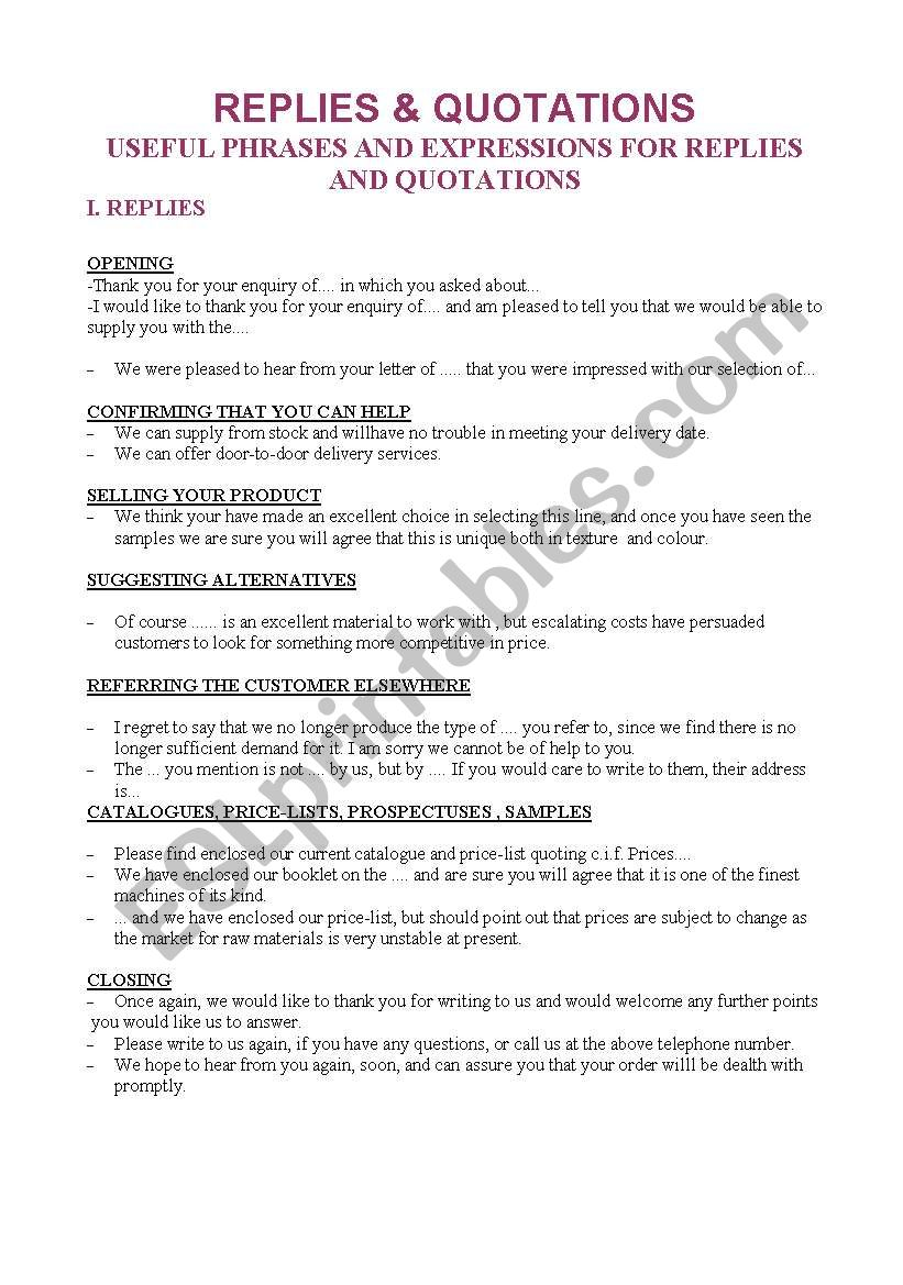English worksheets: Writing Guide - Replies and Quotations