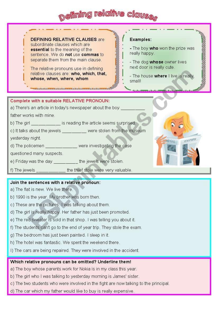 Defining relative clauses worksheet