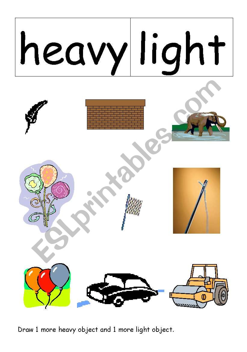 english worksheets  heavy or light