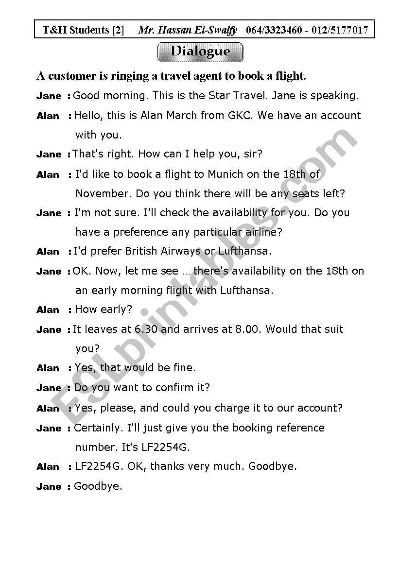 Dialogue: Booking a flight worksheet