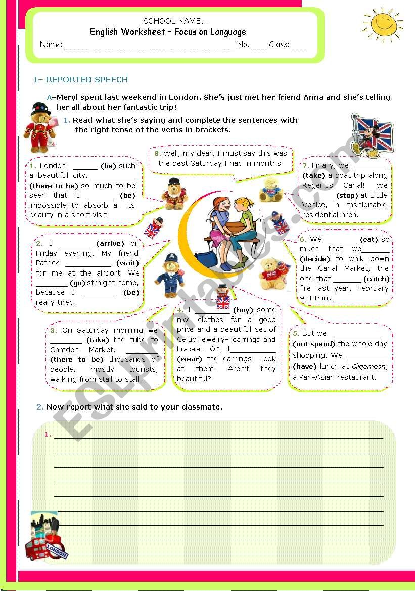 Verb tenses and reported speech - Upper Intermediate and Adnanced students