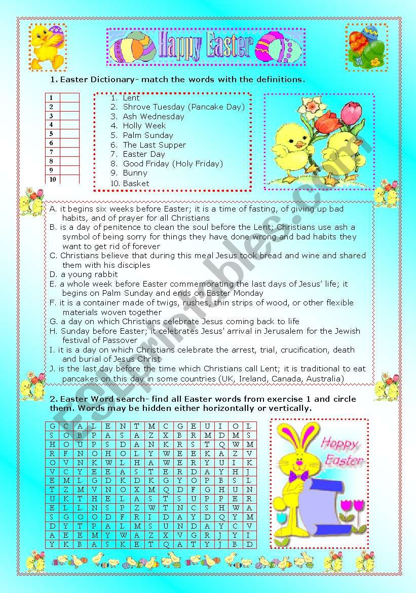 Easter worksheet- matching and wordsearch -teachers guide and ...