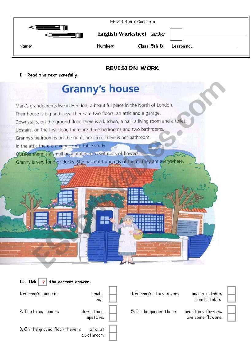 Granny´s house worksheet