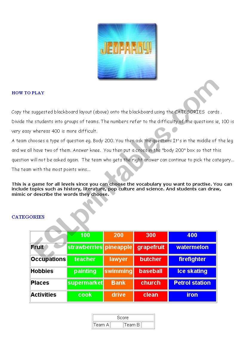 JEOPARDY ! Part 1  worksheet