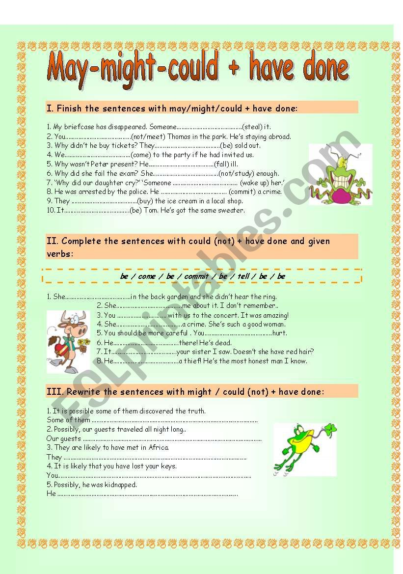 may might could + have done worksheet