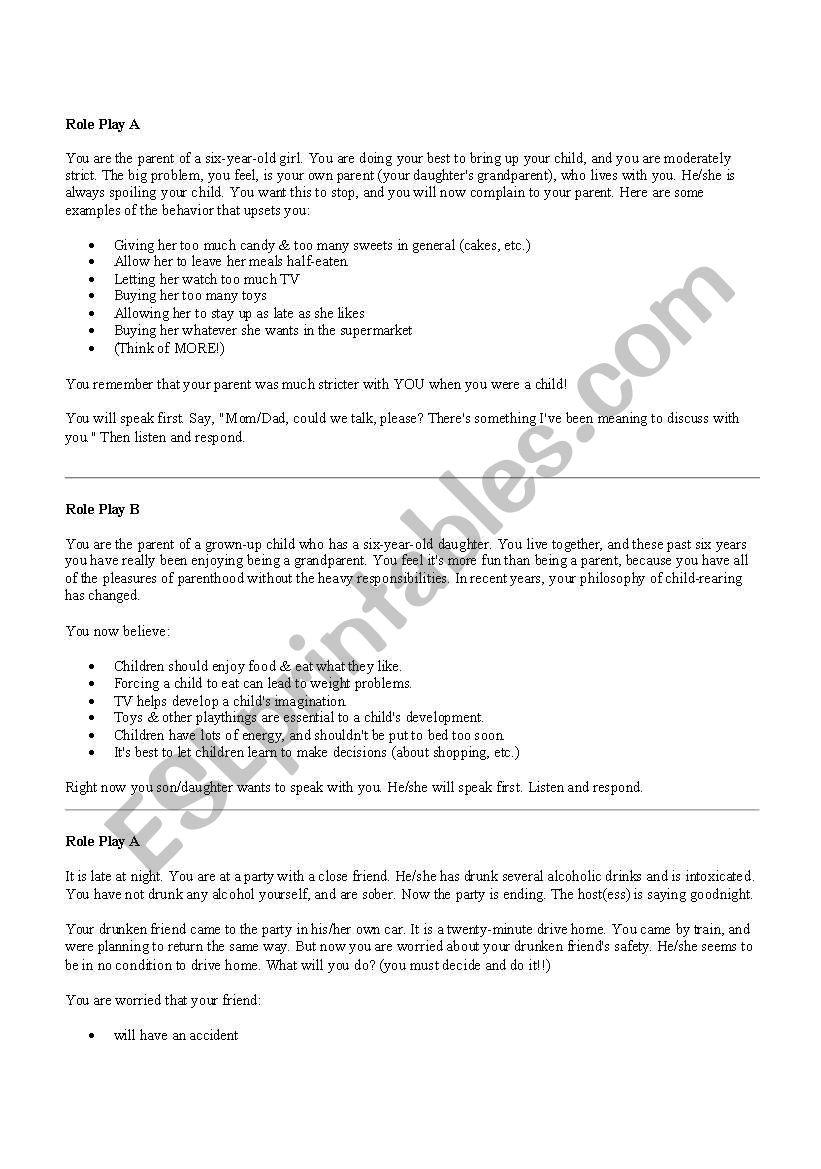Role Plays - ESL worksheet by slittle