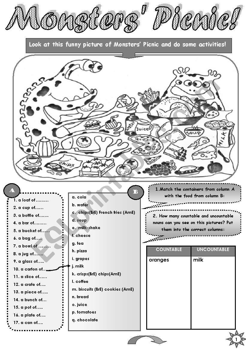 MONSTERS´ PICNIC - FUN ACTIVITY SET  FOR UPPER-ELEMENTARY AND PRE-NTERMEDIATE STUDENTS (countable uncountable nouns, containers, some any; speaking and writing practice) + STUDENT A  and  STUDENT  B PICTURES for pair work (3pages)