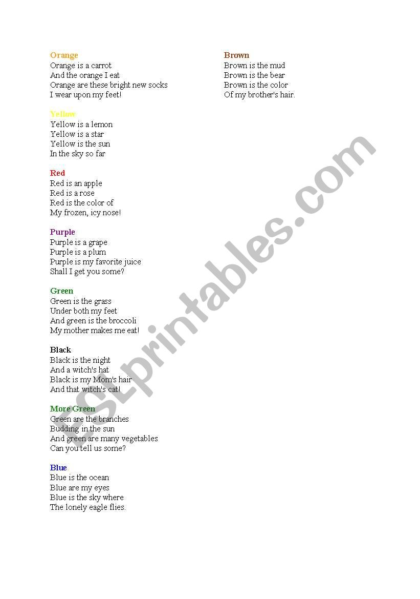 English worksheets: poem about colors