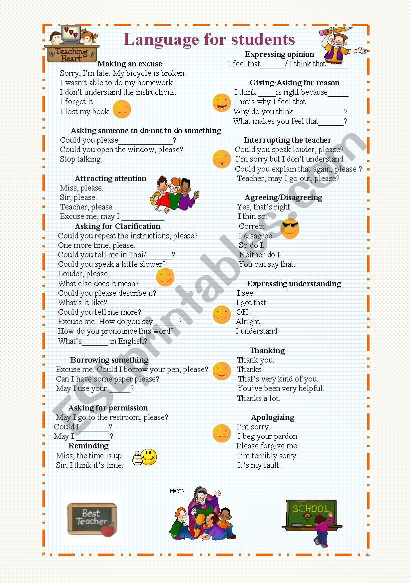 Language for students worksheet