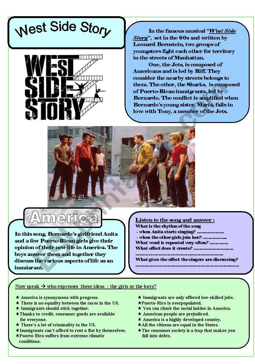 West Side Story´s song America - 3 pages