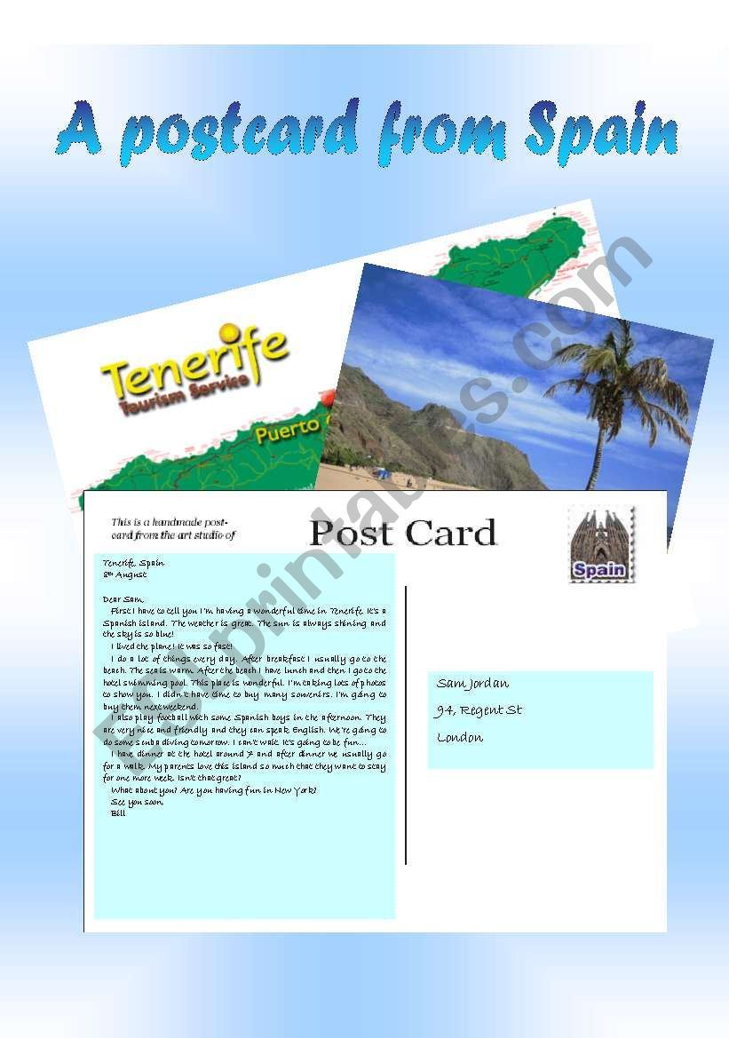 Holiday postcard - ESL worksheet by paula_esl