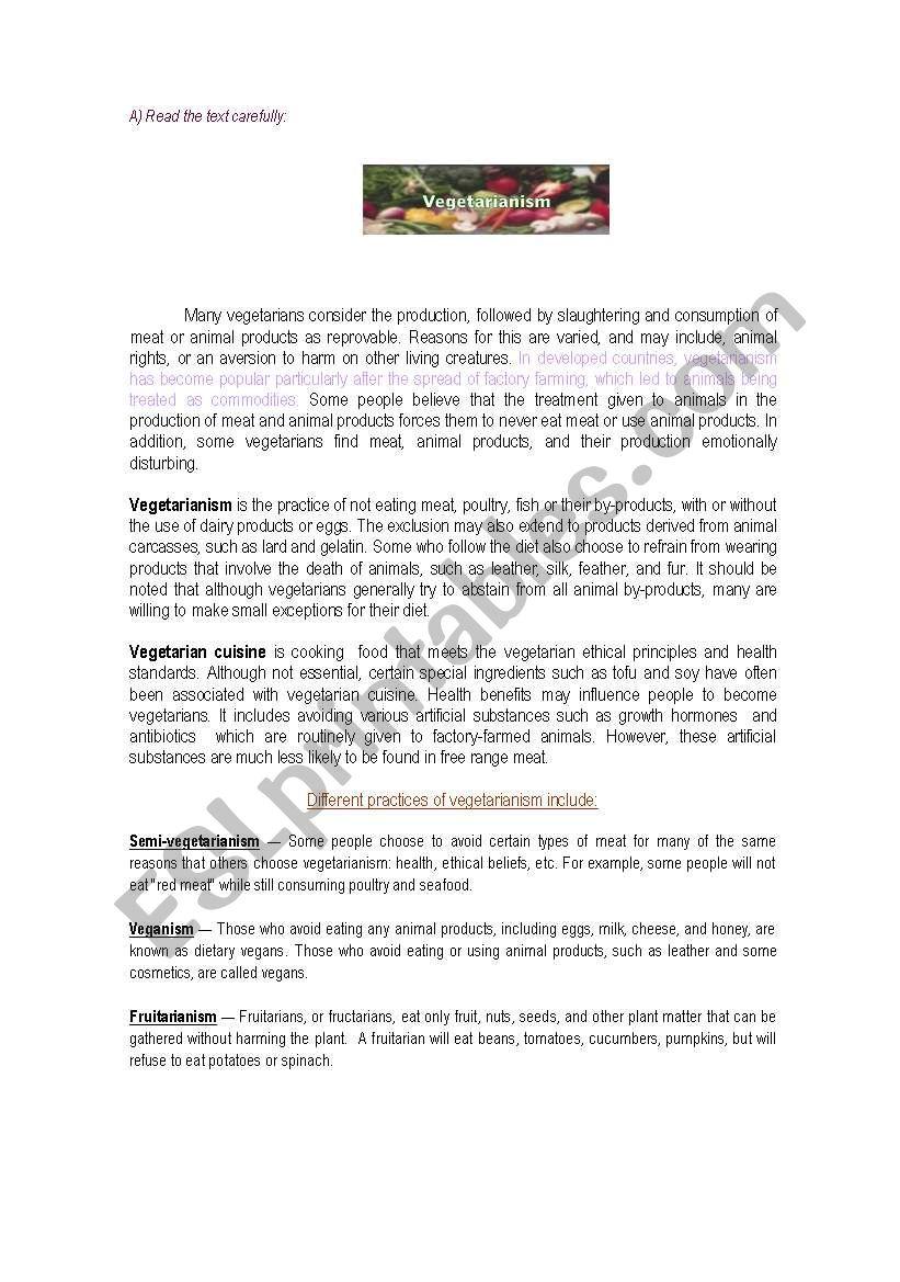 Vegetarianism worksheet